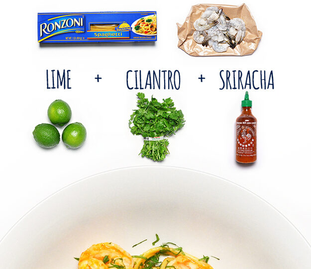 Spaghetti with Sriracha Shrimp, Cilantro and Lime
