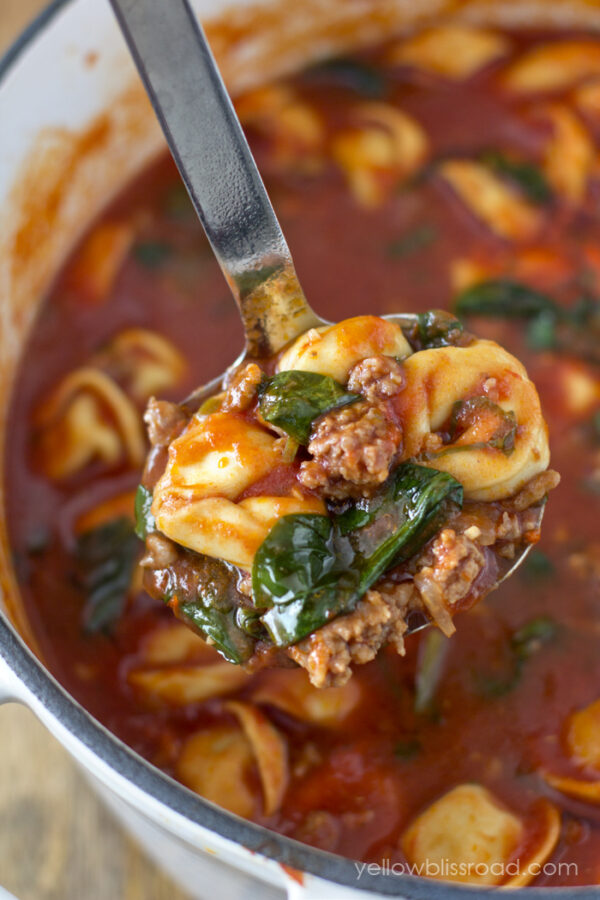 Tortellini Soup with Italian Sausage and Spinach