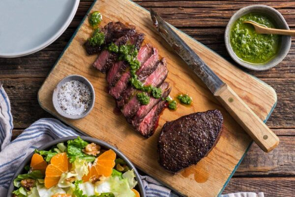 Grilled New York Strip with Pesto